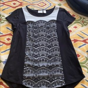 Chicos size 0 black and white lace top